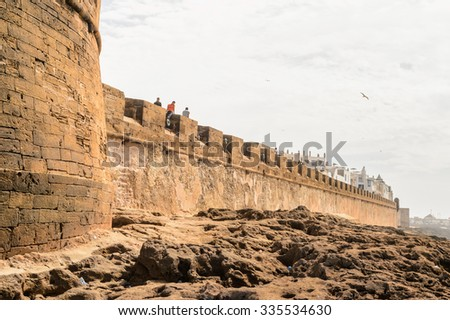 ESSAOUIRA, MOROCCO - OCT 2, 2015: Fortified walls of Essouira, Morocco. The city was called Sidi Megdoulin in 11th-century