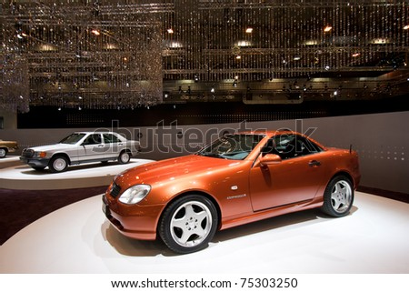 ESSEN, GERMANY - APRIL 1: Mercedes-Benz 230 SLK on display at the Essen Techno Classica Show 2011 on April 1, 2011 in Essen, Germany. - stock photo