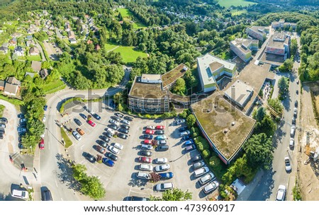 ESSEN / GERMANY - AUGUST 26 2016 : Rehab centre in the sun, aerial