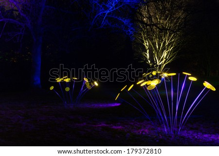 ESSEN, GERMANY - 28 FEBRUARY 2014. Parkleuchten in Grugapark Essen. A yearly event with creative lighting in the park. The park looks like a fairy tail and artwork at the same time.