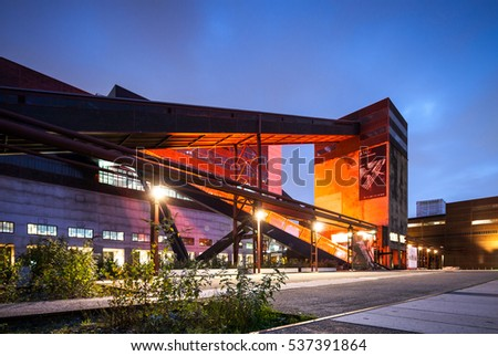 ESSEN, GERMANY - JUNE 20, 2015: Famous Zeiche Zollverein coal mine and steel complex and landmark to German industrial revolution in Ruhr area