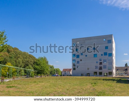ESSEN, GERMANY - SEP 6: The Zollverein School in Essen, Germany on September 6, 2013. It stands next to Zollverein Coal Mine Industrial Complex which is a UNESCO World Heritage Site.