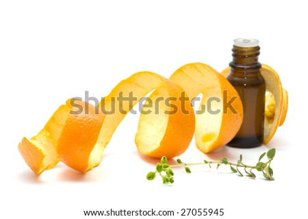essence oil with orange peel and thyme, isolated on white - stock photo