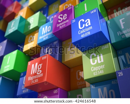 Essential chemical minerals and micro elements - 3d render - stock photo