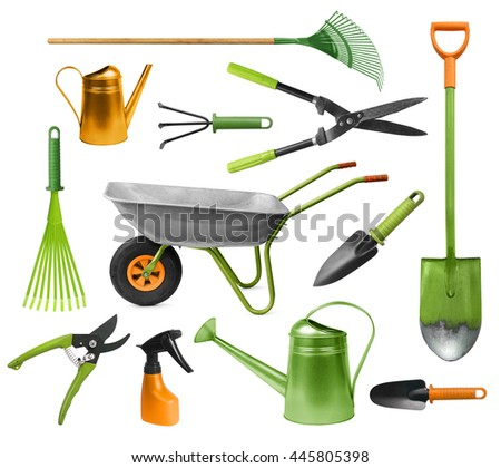 Essential gardening hand tools colorful set isolated on white - stock photo