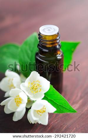 Essential jasmine oil - stock photo