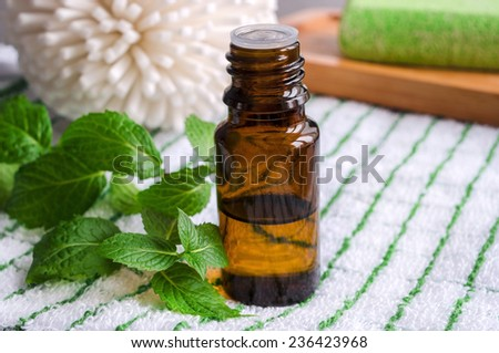Essential mint oil - stock photo