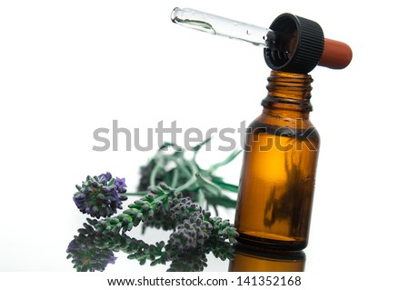 Essential oil with lavender - stock photo