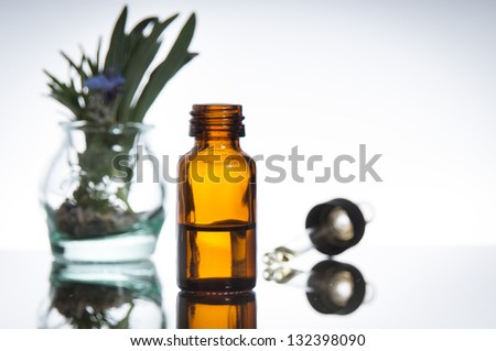 essential oil with rosemary and lavender flowers - stock photo