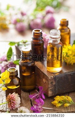 essential oils and medical flowers herbs  - stock photo