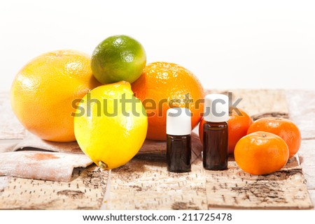 Essential oils from fruits - stock photo