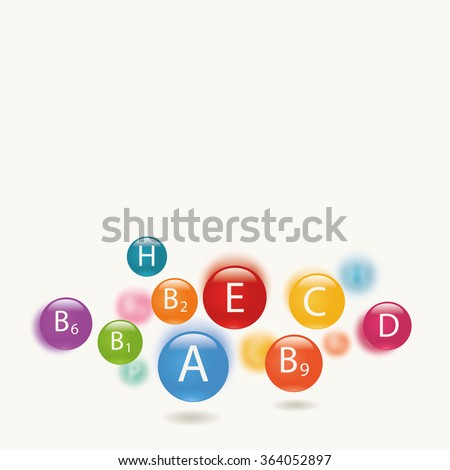 Essential vitamins necessary for human health. Abstract colorful illustration. Essential vitamins necessary for human health. Abstract colorful illustration. Light background.
