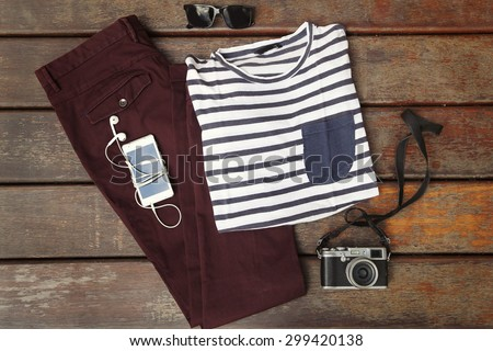 Essentials casual boy outfit - stock photo