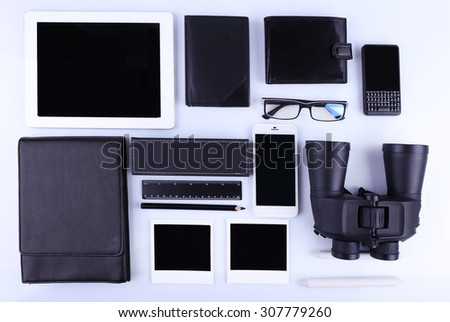 Essentials fashion man objects on light background - stock photo