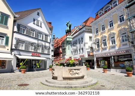 ESSLINGEN AM NECKAR, GERMANY - 18 JULY: Postman Michel Fountain (Postmichelbrunnen) on street Innere Brucke in Esslingen am Neckar, near Stuttgart, Germany on July 18,2014. - stock photo