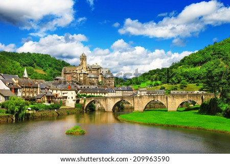 Estaing -  one of the most picturesque villages in France. - stock photo