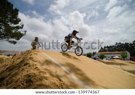 ESTARREJA, PORTUGAL - MAY 26: Carlos Rosado leading at the 2nd Portugal Bmx Open on may 26, 2013 in Estarreja, Portugal.