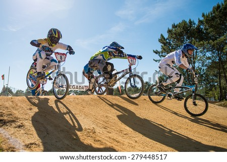 ESTARREJA, PORTUGAL - MAY 16, 2015: Elite riders jumping during the Taca de Portugal Bmx.