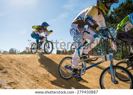 ESTARREJA, PORTUGAL - MAY 16, 2015: Miguel Domingos jumping during the Taca de Portugal Bmx.