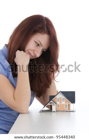 Estate agency client (architect, constructor) dream about new house - stock photo