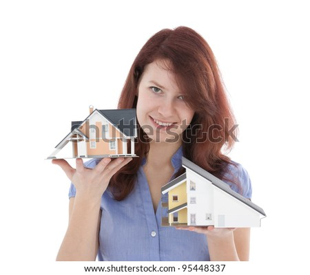 Estate agency client choose new house represented by model. Real estate agent helps select house.