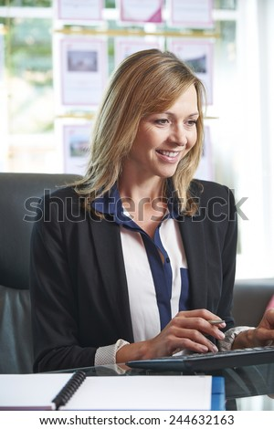 Estate Agent Working At Desk In Office