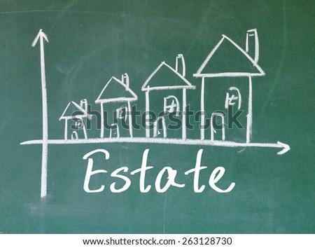 Estate chart on blackboard - stock photo