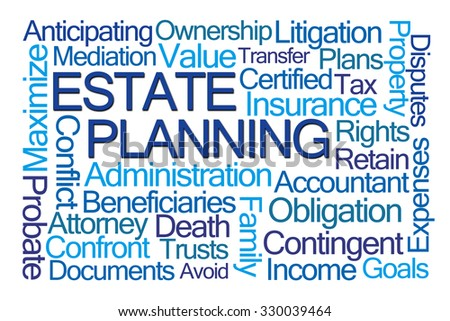 Estate Planning Word Cloud on White Background - stock photo