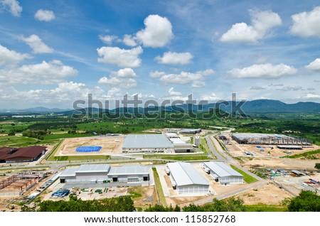 Estates Zone under Construction with Blue Sky field. - stock photo