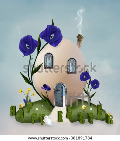 Ester egg like a little house  - stock photo