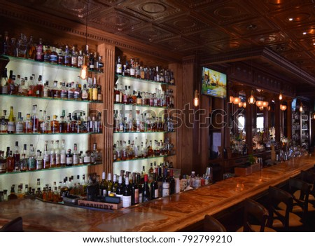 "ESTES PARK, CO - JANUARY 1 : The Whiskey Bar at the Stanley Hotel on January 1st, 2018. The bar at the historic hotel was seen in the movie ""Dumb and Dumber"" and inspired the bar in ""The Shining""."