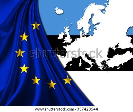 Estonia and European Union Flag with Europe map background - stock photo