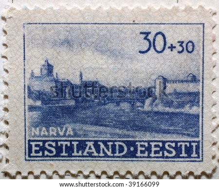 ESTONIA - CIRCA 1939: A stamp shows image of Narva, Estonia's third largest city, series, circa 1939