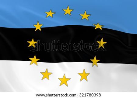 Estonia EU Member Concept Image - 3D render of a waving Estonian Flag with European Union Stars - stock photo