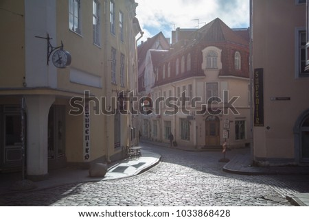 ESTONIA - JULY 22, 2017: Crossroads of Rataskaevu and Pikk streets in Tallinn, circa 2017