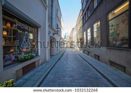 ESTONIA - JULY 22, 2017: Early morning on the narrow street Muurivahe in Tallinn, circa 2017