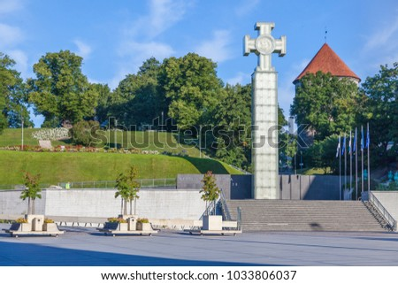 ESTONIA - JULY 22, 2017: Freedom Square is a plaza on the southern end of the Old Town in Tallinn, and Independence War Victory Column, circa 2017