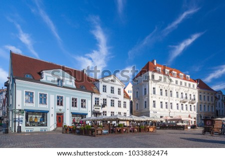 ESTONIA - JULY 22, 2017: Town Hall Square, early morning in Tallinn, circa 2017