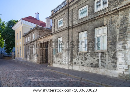 ESTONIA - JULY 22, 2017: View of Kohtu street with old stone house, Tallinn, circa 2017