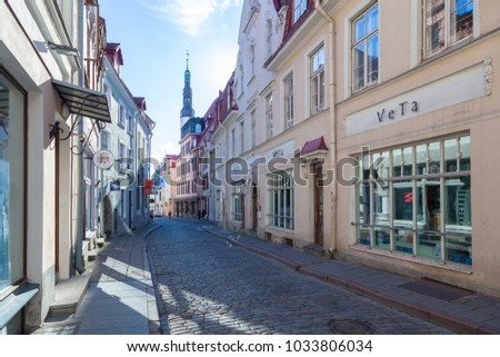 ESTONIA - JULY 22, 2017: View of Pikk street with shop windows, Tallinn, circa 2017