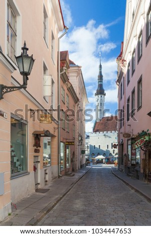 ESTONIA - JULY 22, 2017: View on the Town City Hall from Mundi street in Tallinn, circa 2017