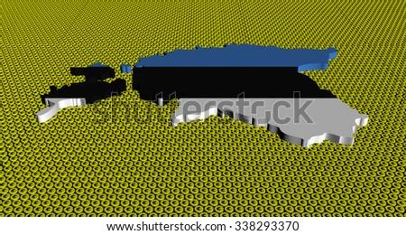 Estonia map flag on golden euros coins illustration - stock photo