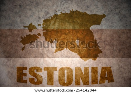 estonia map on a vintage flag background