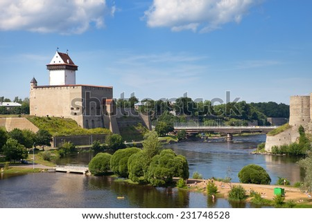 Estonia. Narva. Ancient fortress on border with Russia  - stock photo
