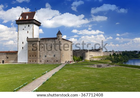 Estonia. Narva. Ancient fortress on border with Russia (XIII century)