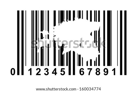 Estonia shopping bar code isolated on white background.