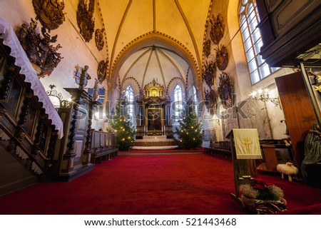 Estonia, Tallinn - 24 DECEMBER: 2015: Christmas decorations in St Mary's Cathedral