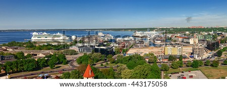 Estonia, Tallinn - 25 MAY 2016: Tallinn port panoramic view