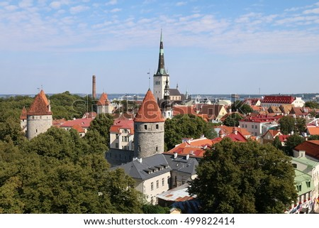 Estonia, Tallinn, Old City Panorama with St. Olaf`s Church