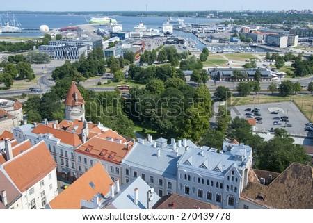 Estonia, Tallinn old city view, Tallinn Old City Harbour view, summer - stock photo